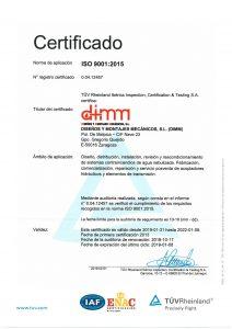 Certificado ISO 9001 2015 spa