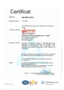 Certificat ISO 9001 2015-FR-DIMM
